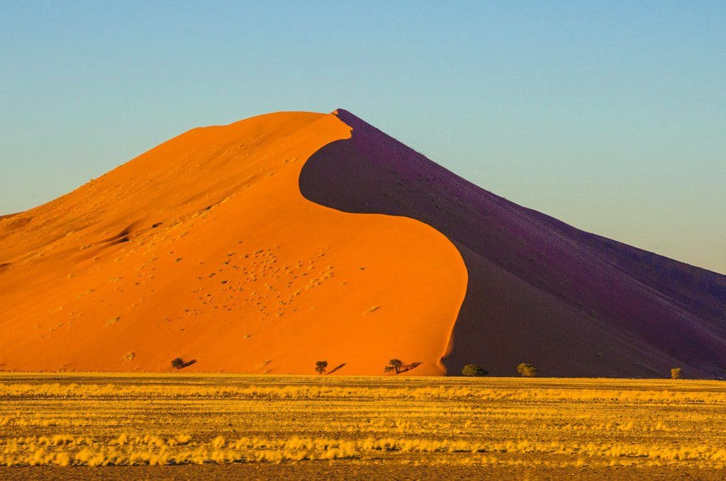 Sunrise over the Red Sand Dunes of Namibia.