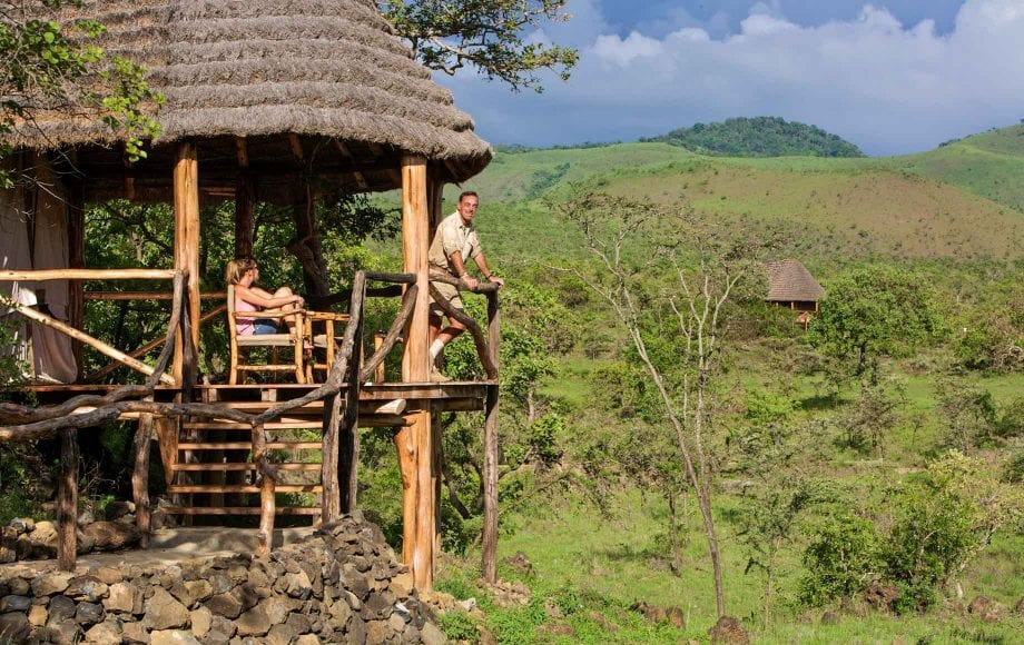 Looking out to a sunny, green day at the patio in Chyulu Hills in Africa