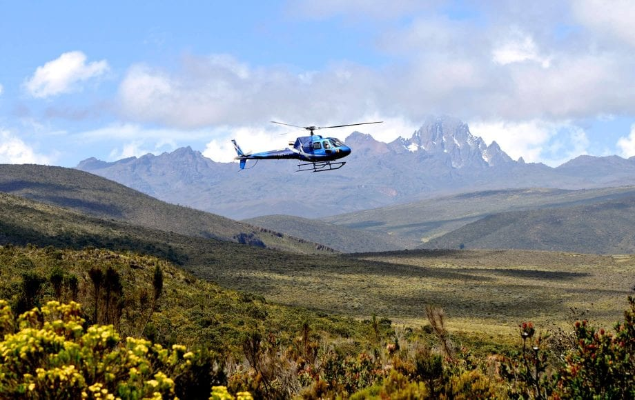 Helicopter Roaming over the Laikipia Plateau