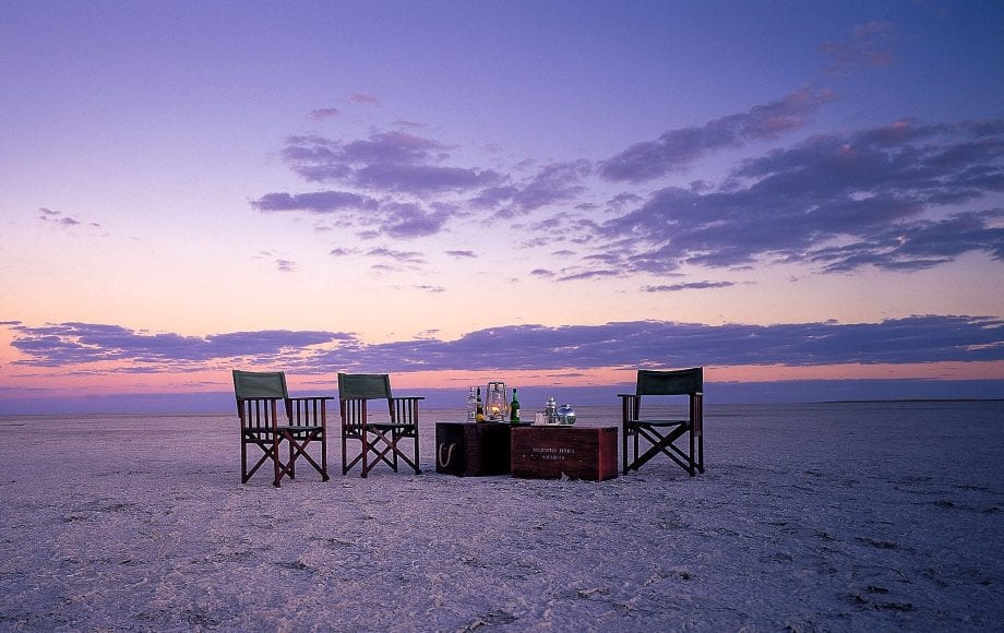 Private dinner on Kubu Island in the Makgadikgadi Salt Pan