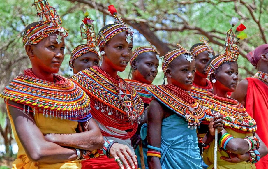Members with bright, colorful clothing and accessories at Samburu National Reserve