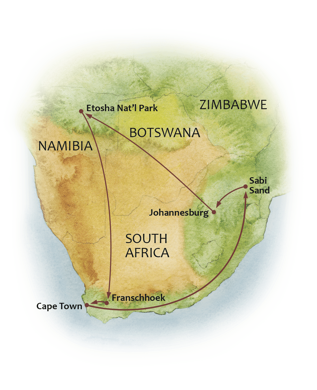 Map of the Great Namibia and South Africa Safari