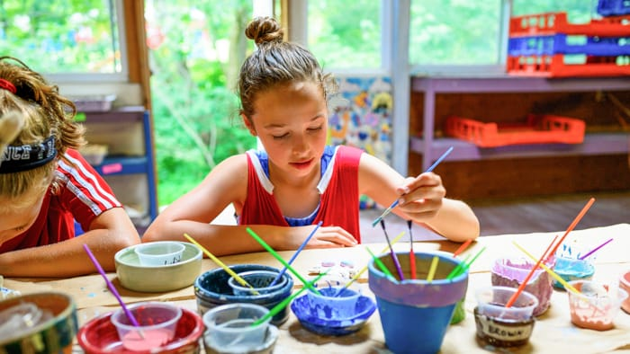 Painting ceramics in arts and crafts