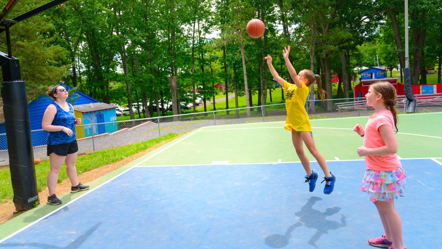 Girls playing basketball