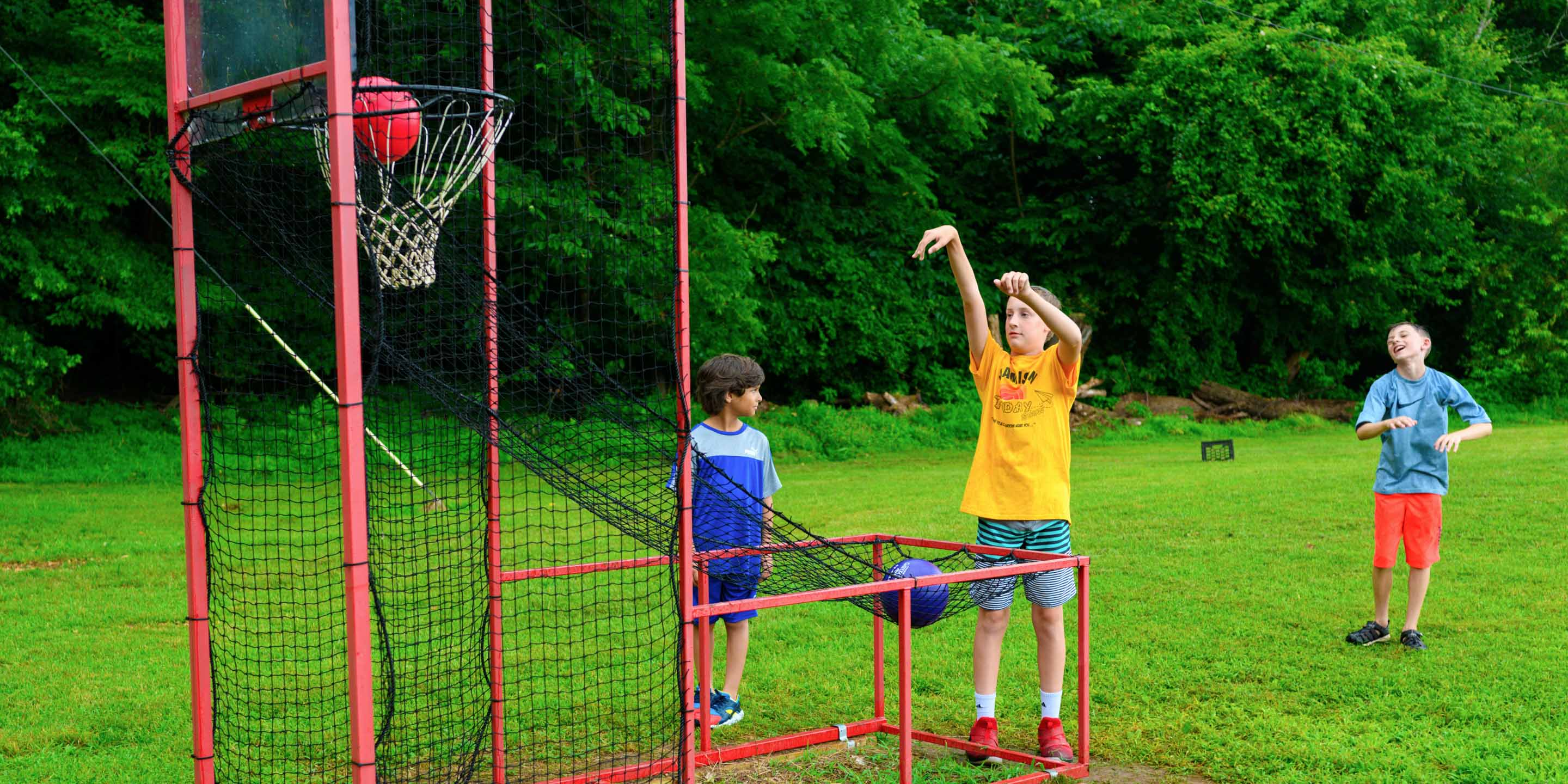 Camper playing basketball